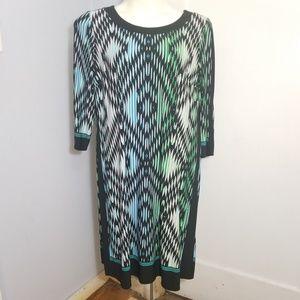 London Times Woman Blue Geometric Dress / 18W